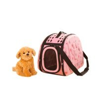 Portable Folding Pet Carrier Shoulder Bag for Dogs and Cats (42*26*32cm, Pink)