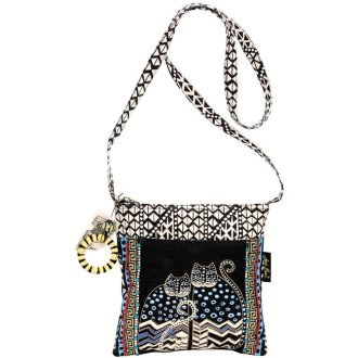 """Crossbody Tote Zipper Top 10""""X10"""" W/25"""" Strap-Spotted Cats"""