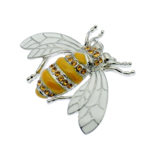 Bumble Bee / Honey Bee Pin Brooch + Rhinestones, Vintage Design