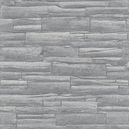 Rasch Brick Pattern Wallpaper Faux Effect Realistic Embossed Textured Metallic[GREY 281200]