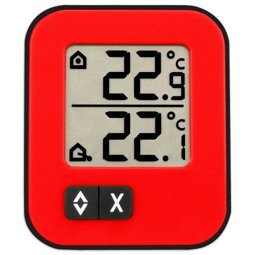 TFA 30.1043.05 Moxx Digital Indoor/Outdoor Thermometer - Red/Black
