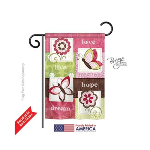 Breeze Decor 50056 Welcome Butterfly Floral 2-Sided Impression Garden Flag - 13 x 18.5 in.