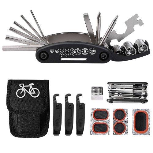 TAGVO Bike Tool Kit, 16 in 1 Bike Multifunction Tool Patch Kit & Tire Levers, Bicycle Fix Tool Kit, Bike Cycling Repair Tools Bundle, Cycle...