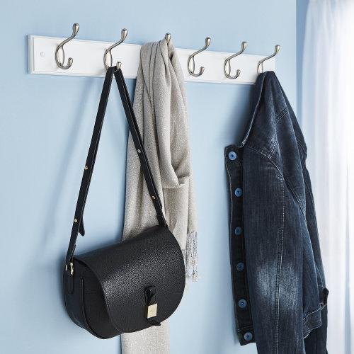 Quality 6 Double Coat Hooks Wall Or Door Mountable With FREE Fixings