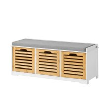 SoBuy® FSR23-WN, 3 Drawers Storage Bench Shoe Cabinet Shoe Rack Bench