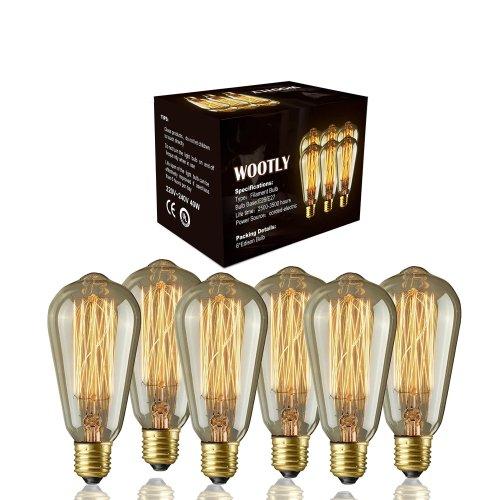 Edison Bulbs of 6 Pack - Edison Marconi Squirrel Cage Filament Bulb (6, 40 Watt)