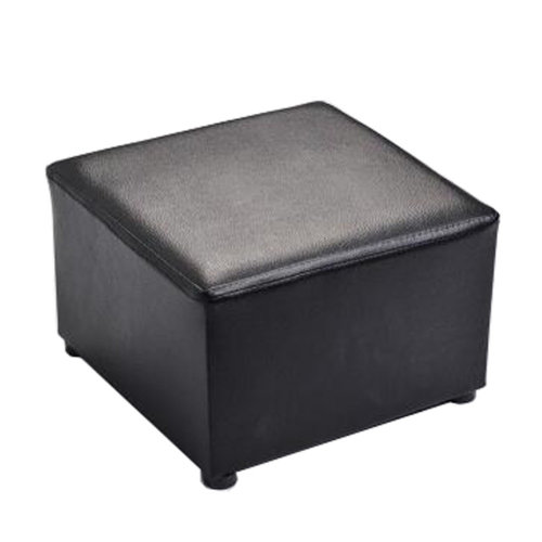 Fashionable Square Faux Leather Modern Small Stool Table Stool Sofa Pier Ottoman Stool, Black
