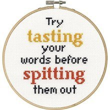 Dimensions Needlecrafts 70-74631 Say It Counted Cross Stitch Kit, Tasting Your -  say tasting your words counted cross stitch kit6 round 14