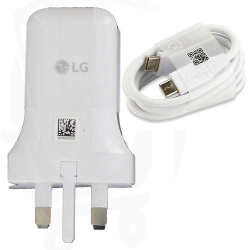 Genuine LG MCS-N04UR Fast USB Type C Mains Charger Adapter with USB Type C to Type C Data Charging Cable - White (Bulk Packed)