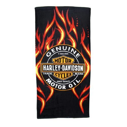 Harley Davidson Oil Label and Flames Beach Towel 30 in X 60 in