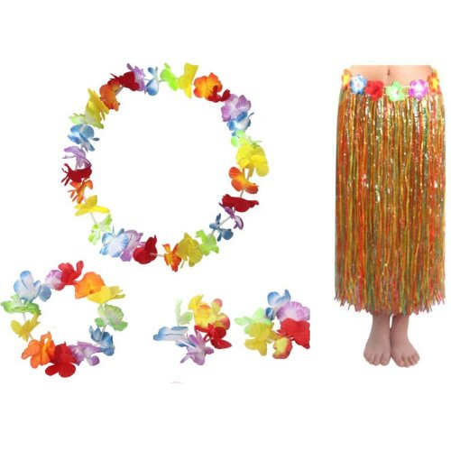 Adult Hawaiian Multicolored 80 CM Grass Skirt Set Party Favors