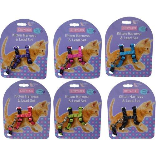 Hem & Boo Nylon Adjustable Kitten & Harness & Lead Set Spotty Pattern Assorted (Pack of 6)