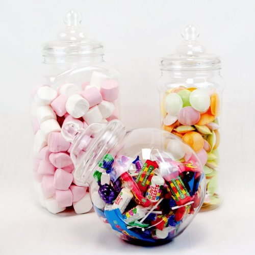 3 Large Jar Vintage Victorian Pick & Mix Sweet Shop Candy Buffet Kit Party Pack