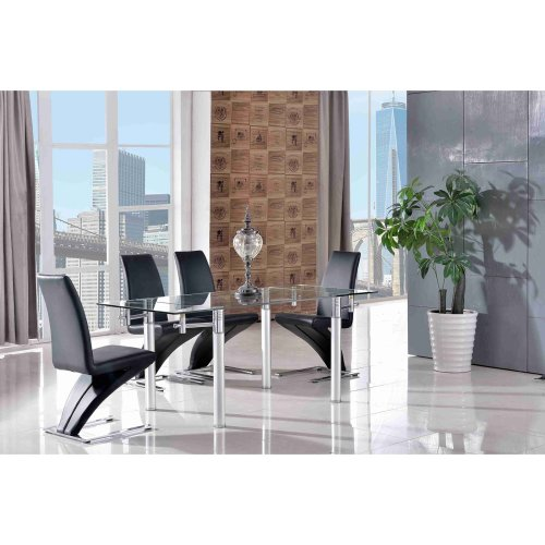 Verona Designer Extending 120cm Glass and Steel Dining Table with Zed Leather Dining Chairs