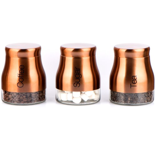 Set Of 3 Copper Storage Canisters Tea Coffee Sugar Jars
