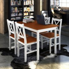 Wooden Table with 4 Wooden Chairs Furniture Set Brown