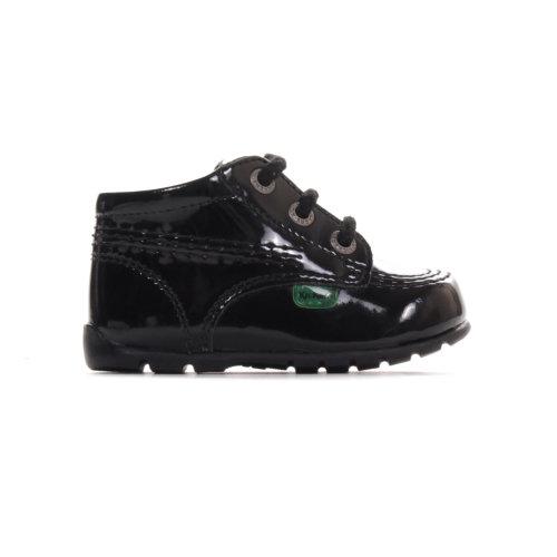 Kickers Kick Hi Baby Patent Infant Toddler Kids Shoe Boot Black