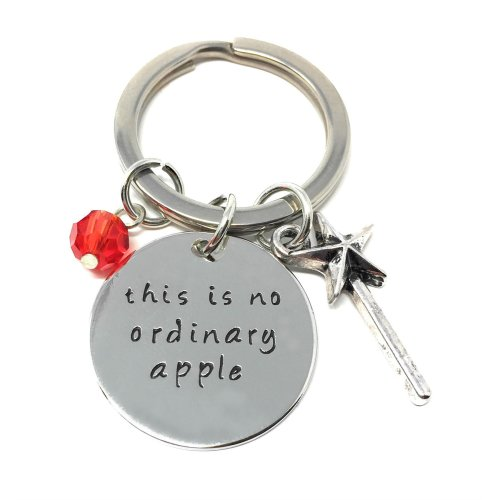 Silver-Tone 'This Is No Ordinary Apple' Engraved Pendant Keyring 2.2cm Diameter Snow White Poison Queen