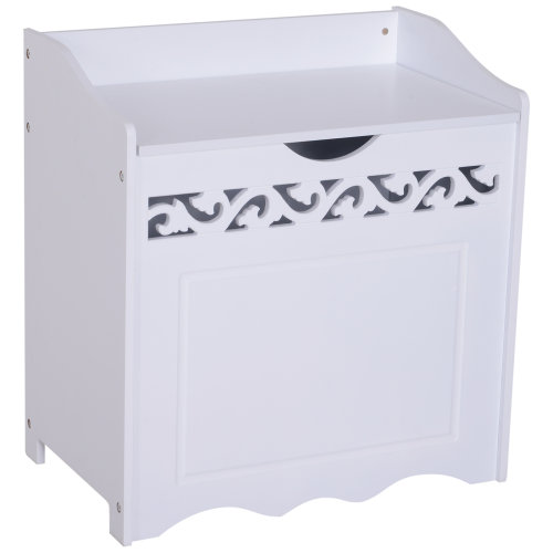 HOMCOM Laundry Basket Bin Storage Trunk Smart Contemporary Clothes Cabinet w/ Lid   Bedroom Home Storage  White