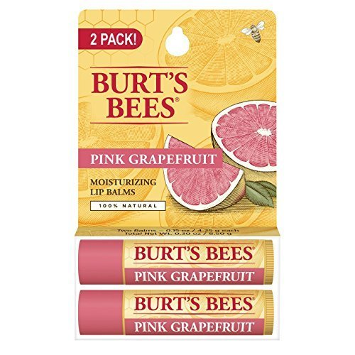 Burts Bees 100% Natural Moisturizing Lip Balm, Pink Grapefruit with Beeswax & Fruit Extracts - 2 Tube