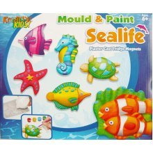 Sealife Mould and Paint Fridge Magnet Making Kit - Childrens Craft Kits