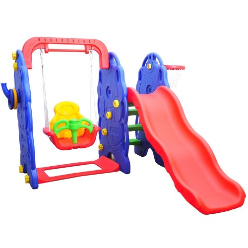 Homcom Garden Playground 3in1 Swing Slide Basketball Hoop