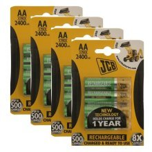 12 x JCB AA 2400mAh Rechargeable Batteries HR6 Charged And Ready To Use