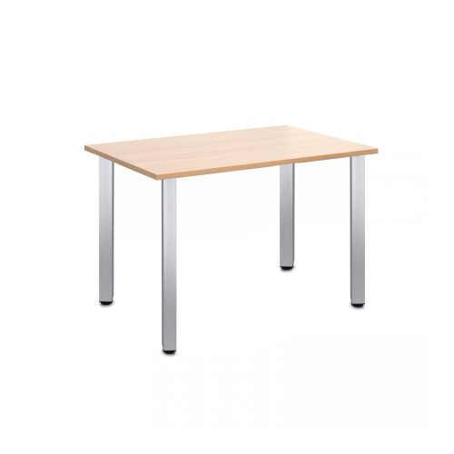 Computer Desk Office Dining Table Workstation Aluminium Legs Square Beech Top 120x80cm