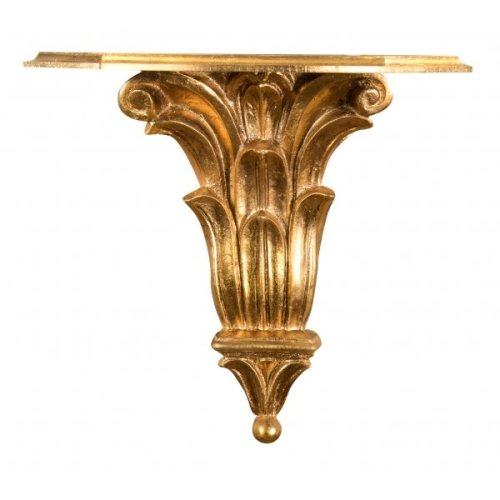 Gold Leaf  Finishing Wooden  L39xd24xh37 Cm Wall Shelf. Made In Italy.