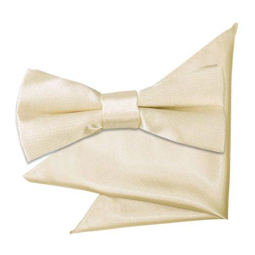 Champagne Plain Satin Bow Tie & Pocket Square Set for Boys