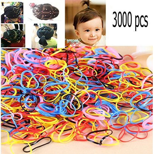 TKOnline 3000 pcs Multi Candy Color Tpu Baby Girls Kids Hair Holder Hair Tie Elastic Rubber Bands