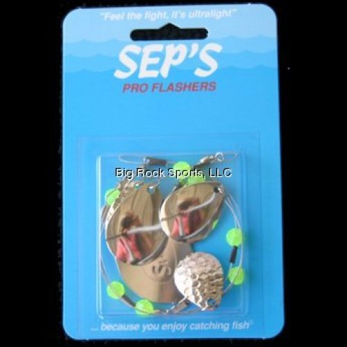 Seps Pro Fishing Flasher, Silver/Green