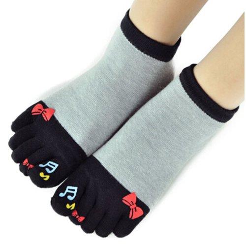 Womens [Wonderful Note] Five Toes Socks Five Fingers Cartoon Socks 1 Pair