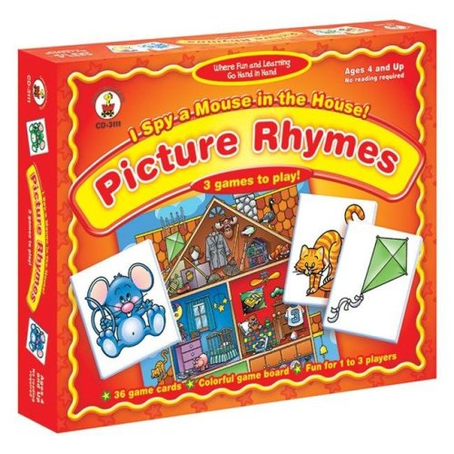 Carson Dellosa CD-3111BN 3 Each I Spy A Mouse in the House Picture Rhymes Board Game