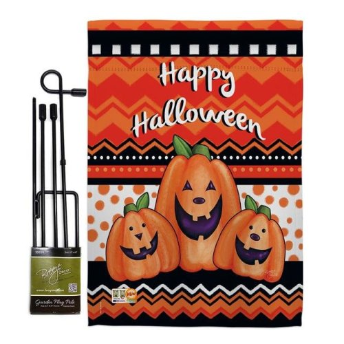 Breeze Decor BD-HO-GS-112062-IP-BO-D-US16-AM 13 x 18.5 in. Halloween Trio Fall Vertical Double Sided Mini Garden Flag Set with Banner Pole