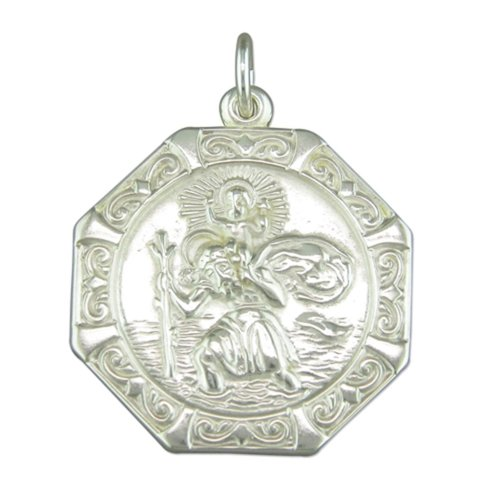 Childrens Sterling Silver Medium Octagonal St Christopher Pendant On A Curb Necklace
