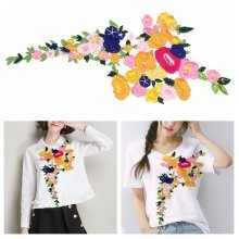 Rose Flower Floral Collar Sew Patch Applique Badge Embroidered Bust Dress Craft Sewing