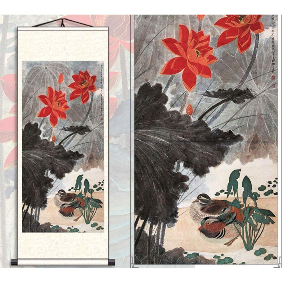 Chinese Scroll Painting Home Decor Silk Scroll Hanging Art Lotus Flower, 25