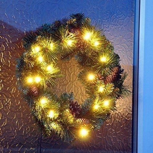 45cm Pre Lit Christmas Xmas Wreath Decoration