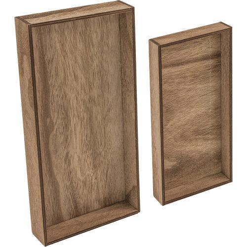 "Idea-Ology Wooden Vignette Trays 2/Pkg-Brown 4.75""X9""X1.25"" & 6""X12""X1.25"""