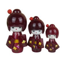 3 Pcs Lovely Japanese Kimono Girl Wooden Dolls With Orchid, Maroon