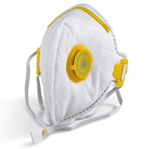 THE CHEMICAL HUT® Flat Fold P3 Valve Respirator Disposable Face Mask for eg. Asbestos Hardwood Dust Glass Fibres & Plastic Particles