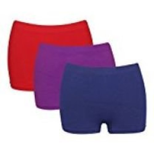 3 x G3 Ladies High Waist Microfibre Boxer Shorts Red Purple Navy