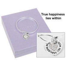 Equilibrium Silver Plated Message Heart Loop Bangle - True Happiness