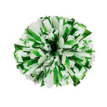 2 Of Metallic Foil & Plastic Ring Pom Poms Cheerleading Poms GREEN+GOLDEN