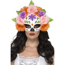 Smiffy's 44884 Day Of The Dead Floral Eye Mask (one Size) -  day dead fancy dress accessory eyemask halloween floral
