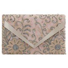 Purple Possum Clutch Bag Pink Grey Velvet Floral Sequins Evening Shoulder Bag