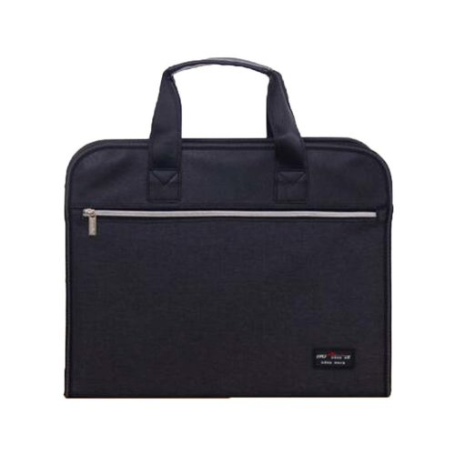 Portable Document Bag Zipper Bag Multi-layered Data Bag Briefcase, Black-4