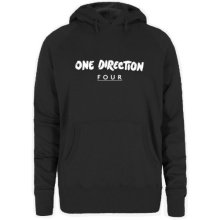 Small Black One Direction Four Ladies Hooded Top. -