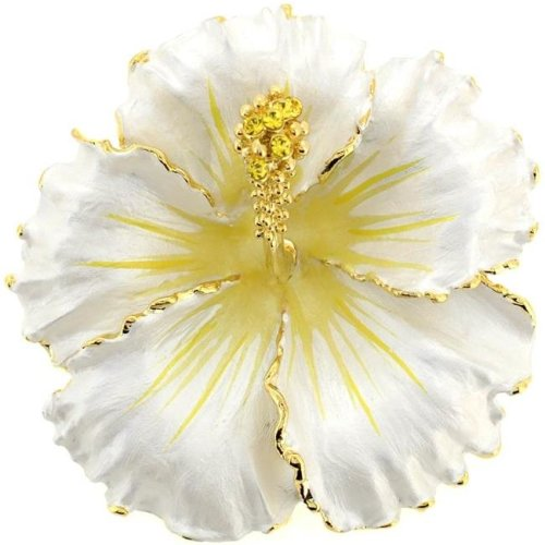 1ce6d75c473 Fantasyard Hawaiian Hibiscus Flower Swarovski Crystal Brooch & Pendant -  White - 2.125 x 2.125 in. on OnBuy